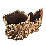 YARNOW Künstliche Treibholz Pflanzer Skulptur Harz Sukkulenten Pflanzer Rustikale Kaktus Behälter Blumentopf Treibholz Stamm Stumpf Log Dekorative Pflanzer Topf